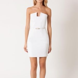 Black halo white lena mini cocktail body con dress